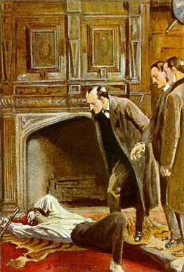 """A very heterosexual illustration by Sidney Paget of Holmes for """"The Adventure of the Abbey Grange"""""""